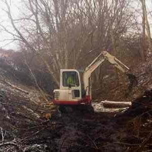 Digger in woodland dip in winter