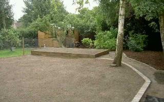 After seeding lawn and new planters