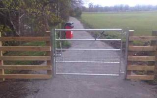 Metal gate on path
