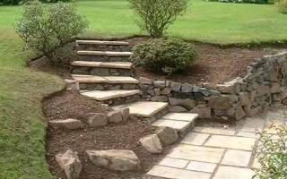 Steps set in slope and corner