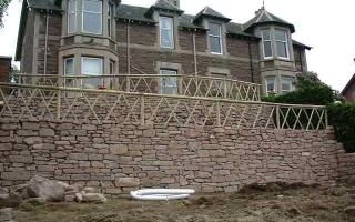 Terraced whinstone walls